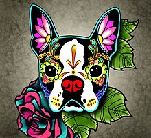 Day of the Dead Boston Terrier Sugar Skull Dog by prettyinink