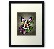 Day of the Dead Boston Terrier Sugar Skull Dog Framed Print