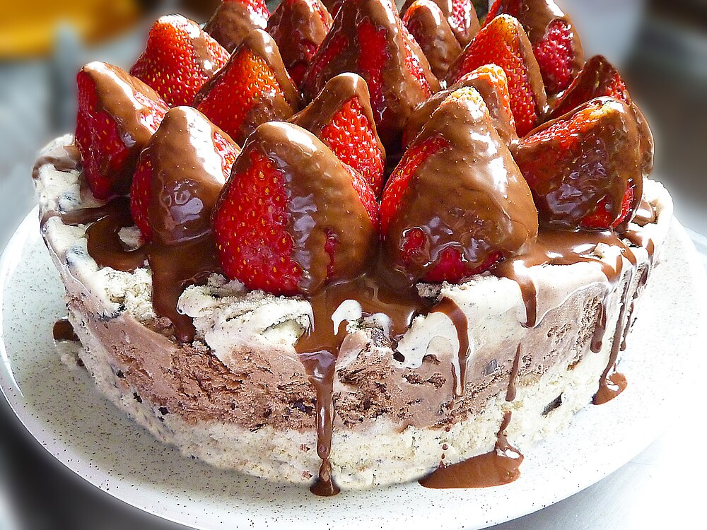 Ice Cream Cake With Strawberries by Sharon Brown