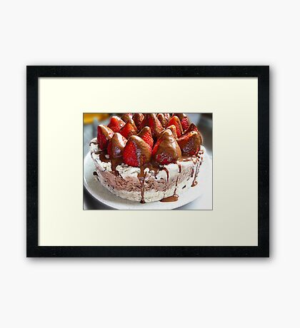 Ice Cream Cake With Strawberries Framed Print