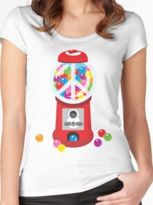 Bubble Gum Machine Peace Sign Women's Fitted Scoop T-Shirt