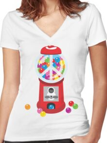 Bubble Gum Machine Peace Sign Women's Fitted V-Neck T-Shirt