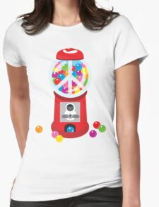 Bubble Gum Machine Peace Sign Womens Fitted T-Shirt