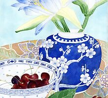 waterlilies, ginger jar and cherries by Gabby Malpas