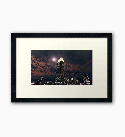 Empire state super moon Framed Print