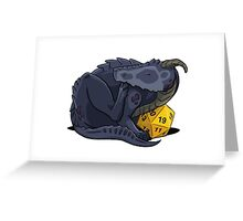 D20 Black Dragon Greeting Card
