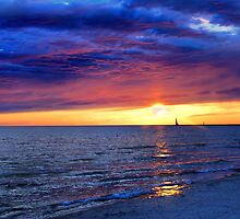 Sunset Over Lake Michigan by BarbL