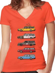 Stack of Volvo 200 Series 245 Wagons Women's Fitted V-Neck T-Shirt