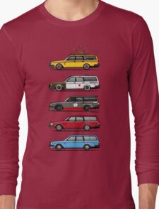 Stack of Volvo 200 Series 245 Wagons Long Sleeve T-Shirt