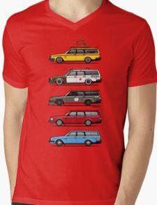 Stack of Volvo 200 Series 245 Wagons Mens V-Neck T-Shirt