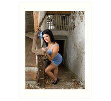 Pin Up in abandonments - Model Kathleen P Art Print
