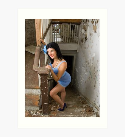 Pin Up in abandonments - Model Kathleen P Art Print