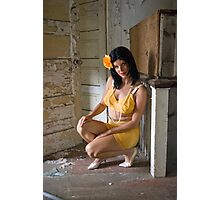Pin Up in abandonments - Model Kathleen P Photographic Print
