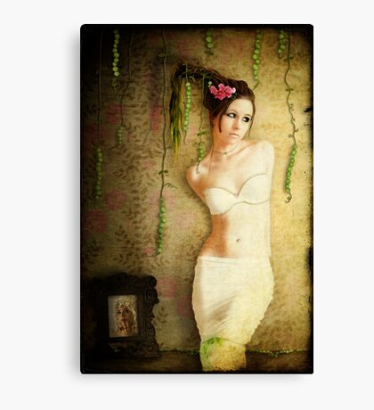 Girl With Pea Canvas Print