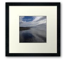 Clouds Reflect on Beach Framed Print