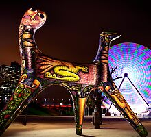 Angel Sculpture and Ferris Wheel - Yarra River, Melbourne by Jenna Florescu