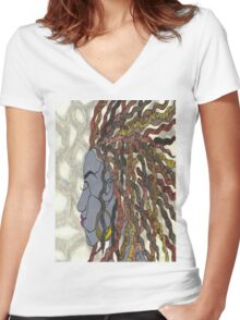 Natural Women's Fitted V-Neck T-Shirt