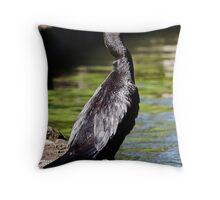 Little Black Cormorant Portrait Throw Pillow