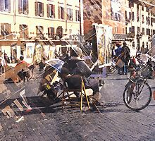 Artists at Piazza Navona (waiting for something to do) by Angela Bruno