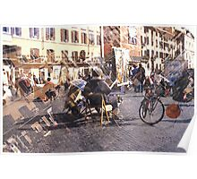 Artists at Piazza Navona (waiting for something to do) Poster