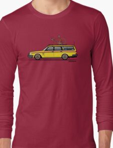 Yellow Volvo 245 Wagon With Roof Rack and Vintage Bicycle Long Sleeve T-Shirt
