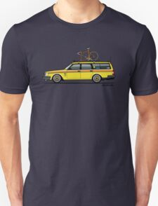 Yellow Volvo 245 Wagon With Roof Rack and Vintage Bicycle Unisex T-Shirt