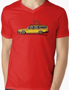 Yellow Volvo 245 Wagon With Roof Rack and Vintage Bicycle Mens V-Neck T-Shirt