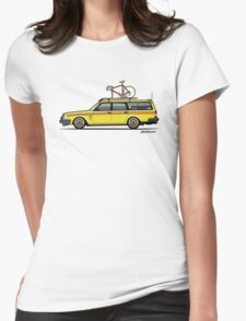 Yellow Volvo 245 Wagon With Roof Rack and Vintage Bicycle Womens Fitted T-Shirt