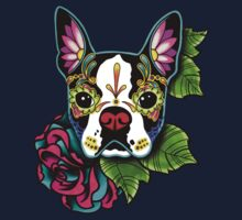 Day of the Dead Boston Terrier Sugar Skull Dog Baby Tee