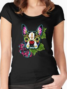 Day of the Dead Boston Terrier Sugar Skull Dog Women's Fitted Scoop T-Shirt