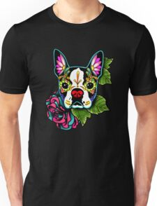 Day of the Dead Boston Terrier Sugar Skull Dog Unisex T-Shirt