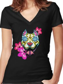 Day of the Dead Slobbering Pit Bull Sugar Skull Dog Women's Fitted V-Neck T-Shirt