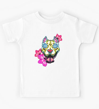Day of the Dead Slobbering Pit Bull Sugar Skull Dog Kids Tee