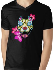 Day of the Dead Slobbering Pit Bull Sugar Skull Dog Mens V-Neck T-Shirt