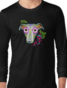Day of the Dead Whippet / Greyhound Sugar Skull Dog Long Sleeve T-Shirt