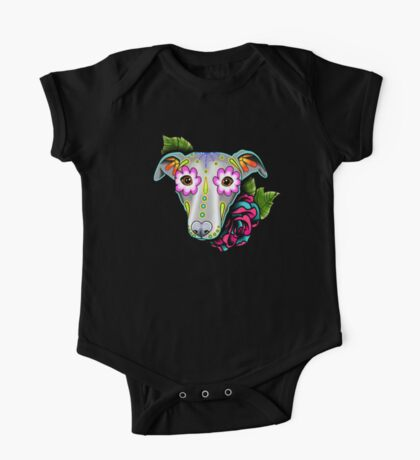 Day of the Dead Whippet / Greyhound Sugar Skull Dog One Piece - Short Sleeve