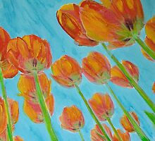 Tulips - Reaching for the sky by Linda Diane Taylor