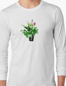 Pink and White Calla Lilies Long Sleeve T-Shirt