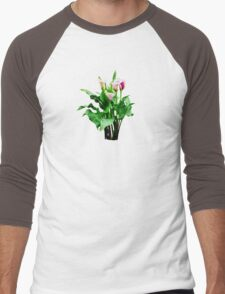 Pink and White Calla Lilies Men's Baseball ¾ T-Shirt