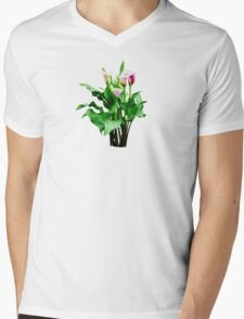 Pink and White Calla Lilies Mens V-Neck T-Shirt