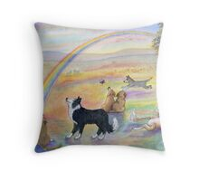 Dogs wait for their humans at Rainbow Bridge Throw Pillow