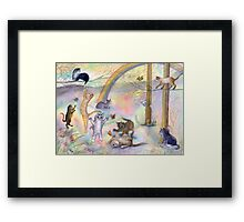 Kitties wait for their humans at Rainbow Bridge Framed Print