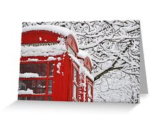 Telephone Boxes In The Snow Greeting Card