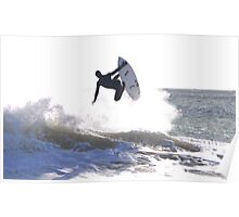 Winter Surfing In Pembrokeshire, West Wales Poster