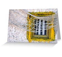 Sète - Yellow window and fishing net. Greeting Card