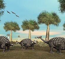 Three Ankylosaurus by Walter Colvin