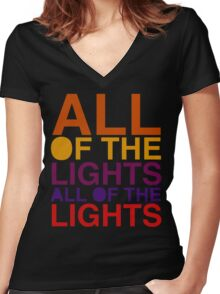 All of the Lights Color Women's Fitted V-Neck T-Shirt