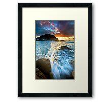 The Mount Sunset Splash Framed Print