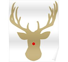 Gold Christmas reindeer with a red nose Poster