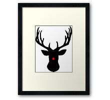 Black Christmas reindeer with a red nose Framed Print